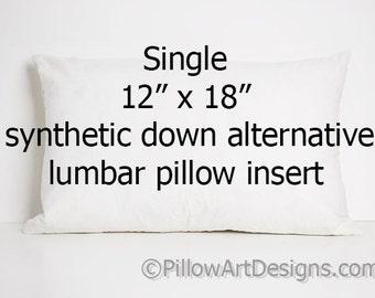 Lumbar Pillow Insert 12 X 18 Inch Synthetic Down Alternative