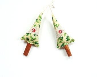 Cinnamon stick tree sachets, holiday ornaments, gift under 10, teacher gift, festive holiday decor, sachet ornaments
