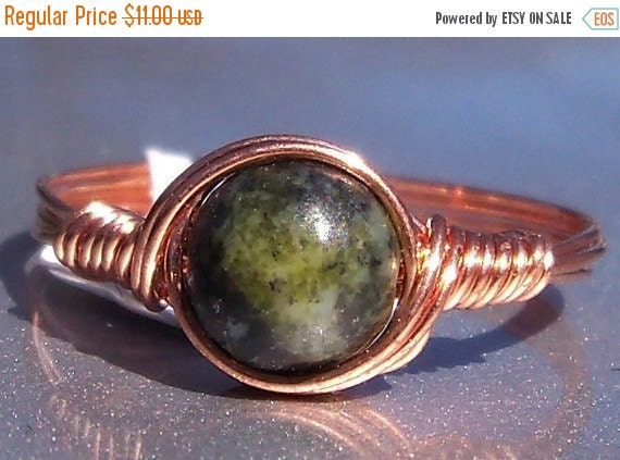 20% OFF Yellow Turquoise Ring Copper Wire Wrapped