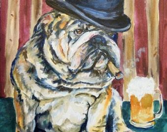 Original Acrylic English Bulldog Painting by Maure Bausch
