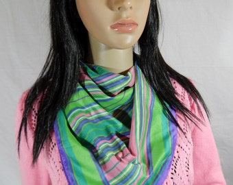 "1980's SALLY GEE SCARF Purple Green & Pink 28"" x 27"" Japan"