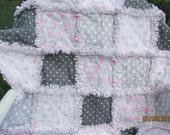 Baby girl rag quilt,  pink, gray, baby birds,  shabby, chic, rag quilt, shabby rag baby quilt
