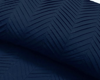 navy blue zig zag pleated cal king size duvet cover  94x104 inches with 2 pillowsham cover