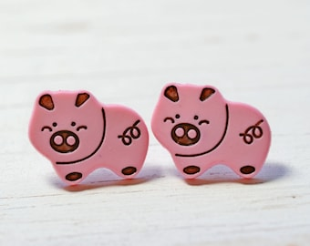 Cute Pink Pig Earrings, Little Piggies Farm Animals Jewelry, Animal Earrings, Pig Jewelry Farmhouse Chic, Vegan Jewelry Pink and Black Pigs