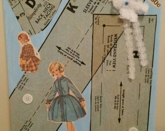 Sewing Pattern Collage 9x12 - Blue