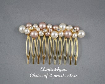 Bridal comb Hair Fascinator Wedding comb Swarovski pearls cluster Rhinestone Champagne Ivory Silver gold comb Wedding hair piece Fall Peach