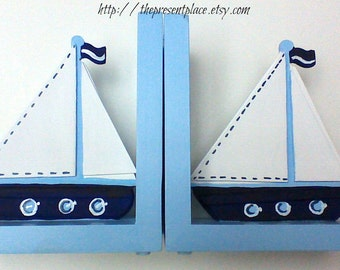 boys bookends,Sail boat bookends,blue,white,navy,personalized,customized,childrens bookends,kids bookends,nautical bookends,yacht bookends