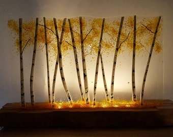 Glowing Aspen Fused Glass Panel - Clear Transparent/Stone Base