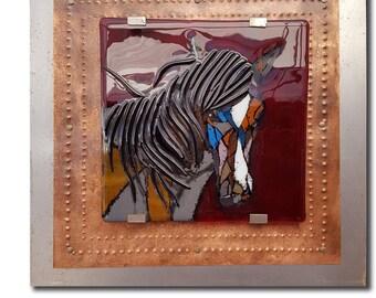 Calm Spirit - Mosaic Horse Fused Glass Wall Art