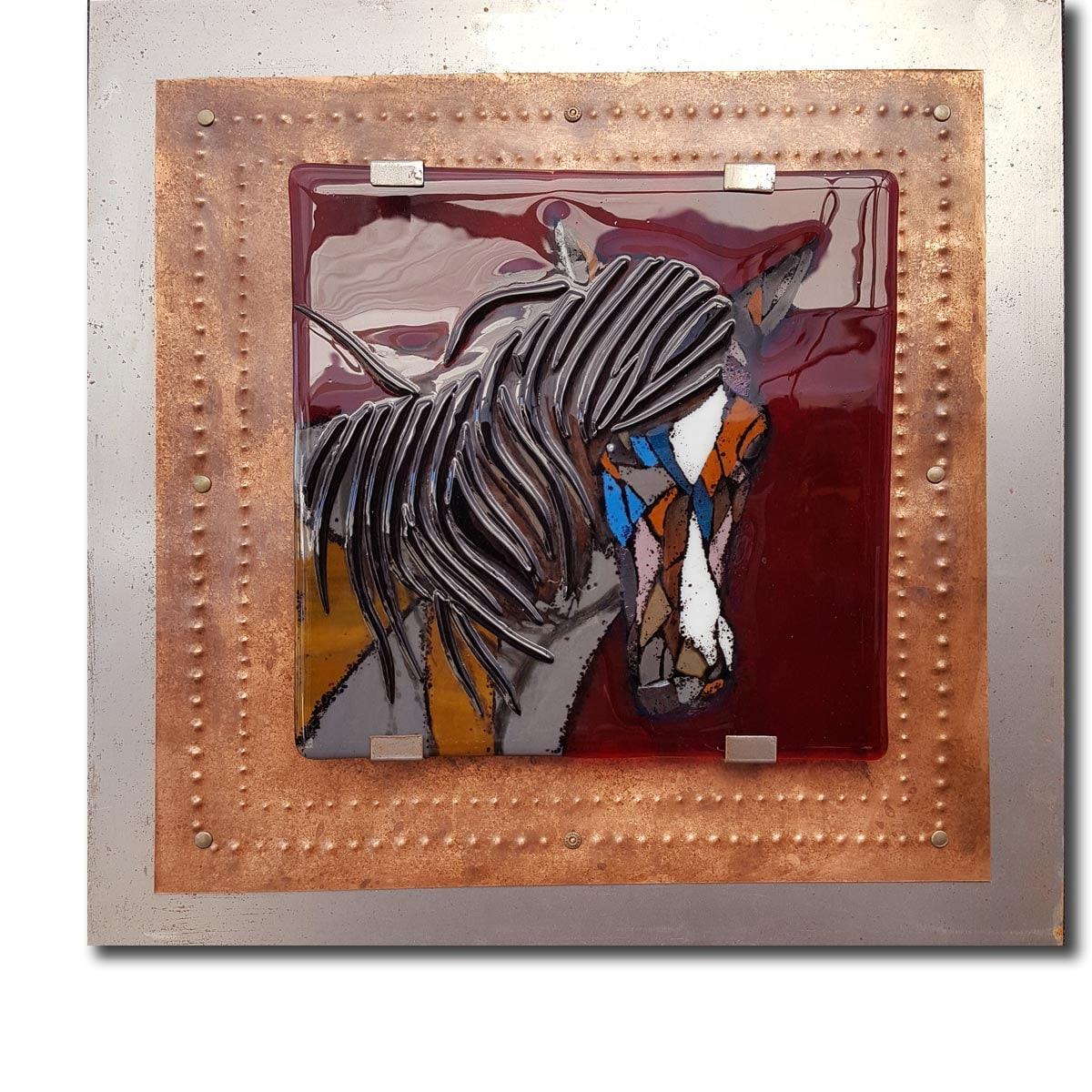 Fused Glass Wall Art: Calm Spirit Mosaic Horse Fused Glass Wall Art