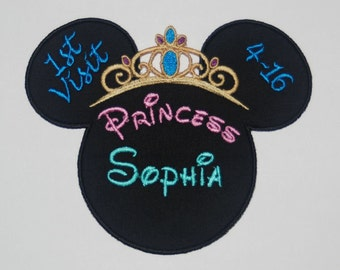 Disney Alladin Minnie Mouse inspired applique with Jasmine's Tiara with optional Name, date, and occasion - completely personalized