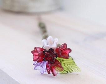 Pink blown glass flower plant stake, glass yard art, flower bouquet garden art