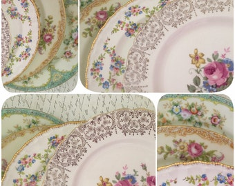 Set of 4 Vintage China Luncheon Plates for Tea Parties, Bridal Luncheons, Showers, Mismatched Tea Set, Alice in Wonderland