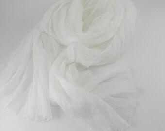 Handmade Silk Scarf --- Off White