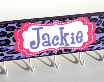 NEW -Animal Prints Personalized Wall Hooks -Kids Coat Rack-Jewelry Organizer-Any color, any theme - Made to match name blocks-Purple,Black P