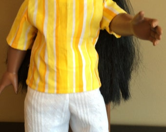 Yellow, Orange, White Striped SHORT SLEEVE TUNIC in Cotton Fabric. White Cotton Hat.  Skirt and Pants in White Soft Knit that is Very Comfy