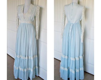 Vintage 1970s Gunne Sax Corset dress - hippie dress - gypsie dress - boho dress- vintage dress