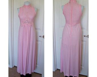 Vintage 70s pink disco goddess, bohemian, maxi dress