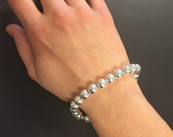 Bracelet - Silver Bracelet - Sterling Silver Bracelet - Single Strand Silver Round Beaded Bracelet