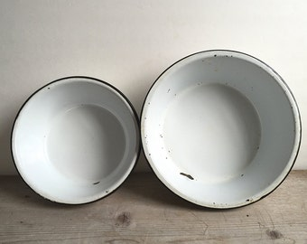 Bowls, Enamel Graniteware Vintage Bowls Set Of Two White Black Trim