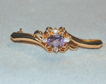 Vintage / Amethyst / Clear / Rhinestone / Brooch / Old / Jewellery / Jewelry