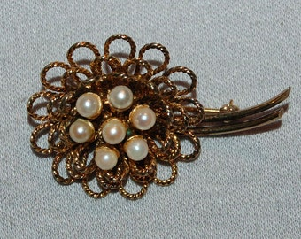 Vintage / Sterling / Silver / Pearl / Danecraft / Brooch / Pin / Signed / Designer / Old / Jewelry / jewellery