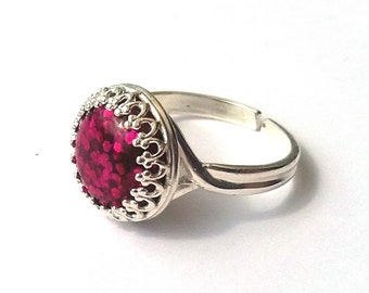 Fuchsia Pink Glitter Ring, Sterling Silver Ring, Glitter Cabochon, Pink Ring, Sparkle Ring, More Colours, or Choose Gold, Rose Gold
