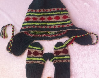 SALE  WINTER  Knitted   cap and mittens multycolor  in the style of the Peruvian .