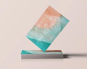 Watercolor + Geometric Business Card: Customizable Download File