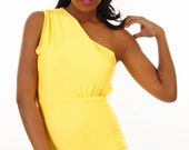 SALE NEW Shea One Shoulder Ruched Maillot in Sunflower  SML - Xl