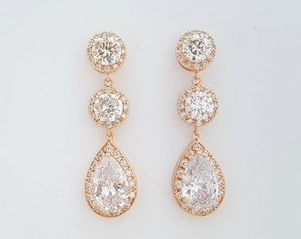 Rose Gold Bridal Earrings Clear Cubic Zirconia Teardrop Wedding Earrings Rose Gold Wedding Jewelry Pink Gold Bridal Jewelry, Evita