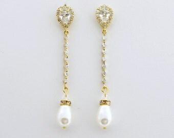 Pearl Bridal Earrings Gold Wedding Earrings Long Pearl Earrings Crystal Pearl Gold Bridal Jewelry Gold Pearl Wedding Jewelry, Jodi Earrings