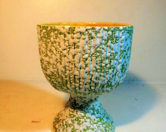 Vintage Planter Lime Green / White Frosting USA /  Large Goblet Shape