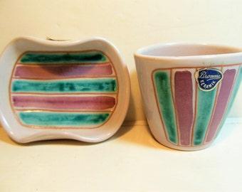 Vintage Sweden  Smoking Items Bromma Ceramic Keramik Rose Pink, Blue