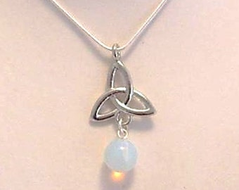 Triquetra moonstone necklace triple Goddess pagan symbolic fertility jewellery