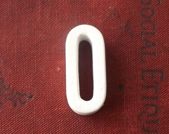 vintage 1930's white ceramic capital letter O small antique porcelain decorative home decor retro personalized name initial 0 number zero