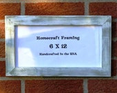 6X12 Picture Frame Distressed White Green Rustic Cottage Chic Frame Wooden