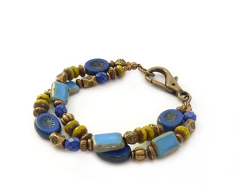 Periwinkle Blue Boho Multistrand Beaded Bracelet - Cobalt Blue, Lime Green - Picasso Czech Glass - Colorful Jewelry