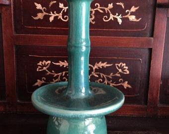Pair of Chinese Green Glazed Ceramic Candlesticks