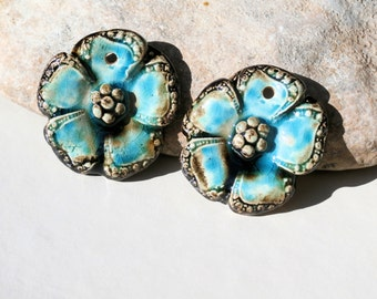 made to ORDER - 2 handmade flowers charms for earrings or necklace - choose a color - high fired  ceramic clay pottery supply