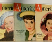 Vintage Magazines (3) 1948/The American Magazine/Thirties Cover Girls, Fashions, Art Illustrations, Advertising