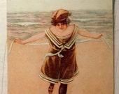 Antique Postcard 1906 Bathing Beauty Ladyd in Victorian Bathing Suit on Beach Wearing Hat