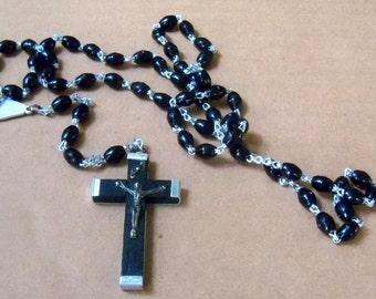 Catholic rosary, prayer beads, religious black rosary, Catholic rosary from Italy