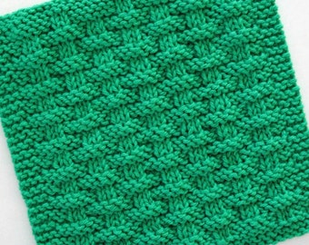 Cotton Dishcloth, Knit Dishcloth, Basketweave Dishcloth, Emerald Green Kitchen Decor, Jade Green Kitchen Decor