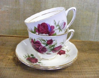 Tea For Two - Pair of Vintage Colclough English Bone China Porcelain Tea Cups & Saucers Red White Roses