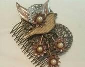 Wedding Bridal Hair Comb Antiqued Bird Pearl Style Assemblage Repurposed Vintage Wedding