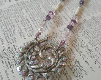 Vintage Purple Rhinestone Necklace J