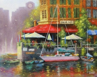 Seaside Cafe Oil Painting 16X20, bay, sailboat, row boats, restaurant, red, orange, awning, seafood cafe, dock, city by sea, cafe by the sea
