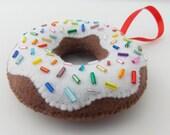 Glazed Chocolate Donut with Rainbow Sprinkles - Christmas Ornament