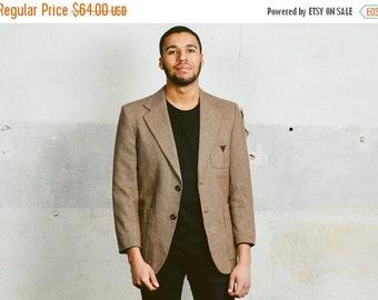 SALE . Vintage NORFOLK Blazer . Mens 70s Brown Belted Jacket Retro Preppy Sport Coat Brown Elbow Patches Ivy league Style Wear . Medium Larg